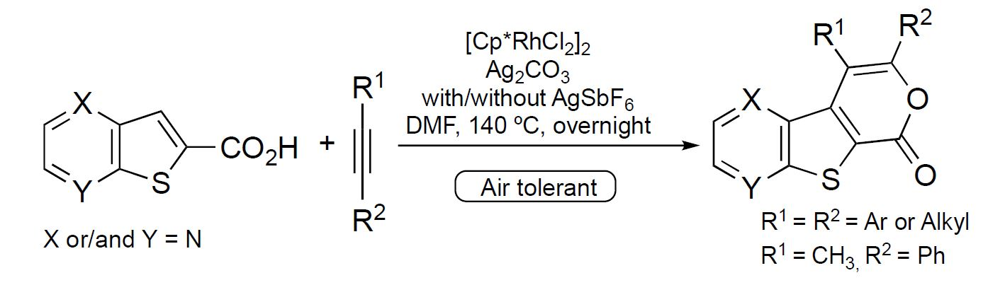 Rhodium(III)‐catalyzed formal cycloaddition between thienopyridine/thienopyrazine carboxylic acids and alkynes, triggered by C‐H activation